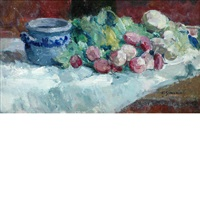 still life of radishes on a table top by victor simonin