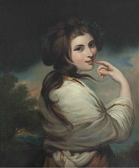 portrait of emma, lady hamilton, three-quarter length, a landscape beyond by george romney
