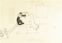 untitled illustration of a man screaming down a telephone by john lennon