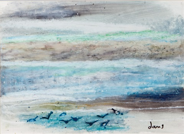 playa con gaviotas by maría antonia dans