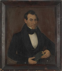 portrait of a gentleman holding a book by ammi phillips