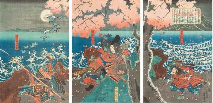musha e scena walki pod kwitnącym drzewem wiśni triptych by utagawa yoshitora