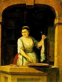 a kitchen maid skinning a hare by gerrit zegelaar