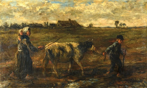 children and cow in the field by jozef israëls