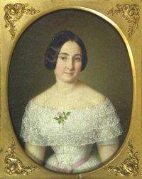 portrait of a lady in a lace dress (+ portrait of a gentleman; pair) by benjamin orth