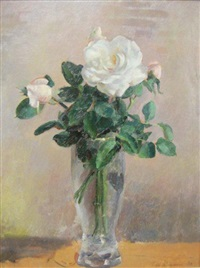 rose in a glass vase + distant english village (2 works) by nora heysen