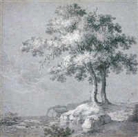 two trees on the banks of a lake (recto)          the head of a woman (verso) by hermann naiwincx