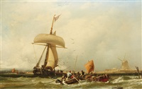 dutch coastal view with sailing ship and boats by charles hoguet