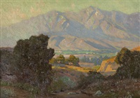 valley landscape, san gabriel mountain vista from flintridge by elmer wachtel