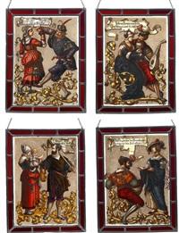 glasbilder mit sinnsprüchen (4 works) by ludwig grandy
