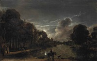 a moonlit wooded landscape with a horseman and other figures by a canal, a town beyond by aert van der neer