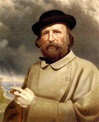 portrait of giuseppe garibaldi in a camel coat, rome beyond by charles ashmore