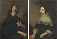 portrait of willem craeyvanger (1616-1659) (+ portrait of christine van de wart; 2 works) by paulus lesire