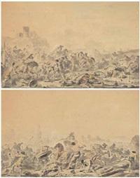 scènes de batailles (2 works) by jacques gamelin