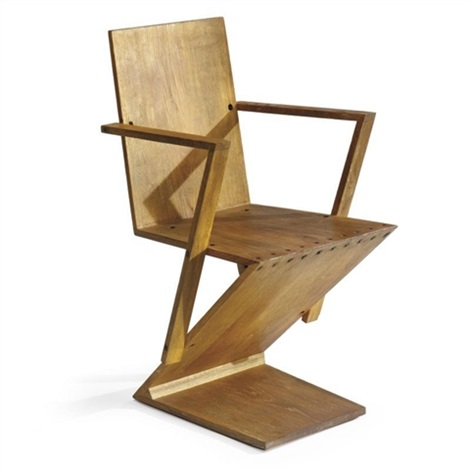 Zig Zag Chair With Armrests By Gerrit Rietveld