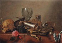 a vanitas still life with a skull, a broken roemer, a rose, an hour glass, a nautulus shell, a pocket watch and other objects, all on a draped table by hendrick andriessen