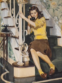 teenager sitting on stairs talking on phone (good housekeeping) by john gannam