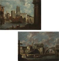 a capriccio of a town in the veneto with women washing on the bank (+ a capriccio of a town in the veneto with townsmen mooring their boat; pair) by francesco tironi