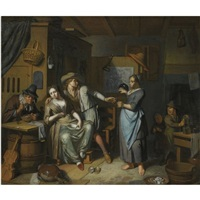 a household scene with a maid pouring a glass for a man carousing a seated woman holding a bowl, another man seated lighting his pipe, and two children in the background by frans decker