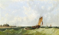Segelfartyg utanför kust, 1857