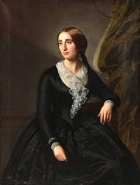 portrait of an actress at the royal. theatre mrs. erhardine adolphine hansen (1815-1893) wearing black dress with white fichu and jewelry by david monies