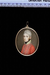 an officer of madras native cavalry wearing scarlet coat with yellow collar and silver lace, his hair powdered by john smart the younger