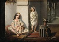 algéroise au tambourin et son enfant by emmanuel joseph lauret