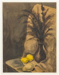 still life with lemons and pear by yasuo kuniyoshi