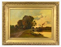 untitled, landscape with lake and bridge by charles françois daubigny
