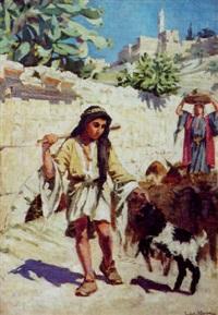 bergers aux abords de la citadelle et de la tour de david à jérusalem by ludovic alleaume