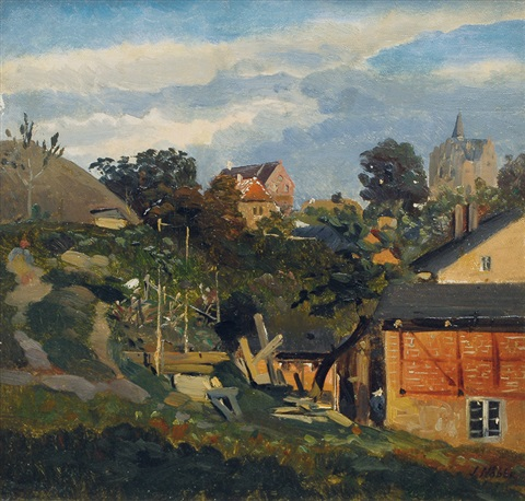 view on a town with castle by jacob nobbe