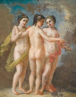 die drei grazien die drei grazien mit einem kranz pair by carl josef alois agricola