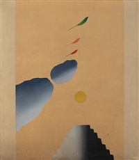 bird, tree+ mountain series by jagdish swaminathan
