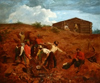 placer mining, miners at work by f. w. chadwick