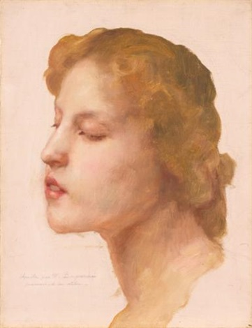 study of a womans head by william adolphe bouguereau