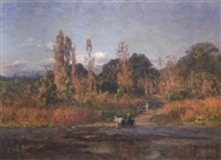 horse and carriage fording a river in an autumn landscape by theodore clement steele