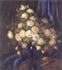 white roses in a black vase on a draped table by carl h. fischer