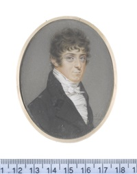 a gentleman, wearing black coat, white frilled chemise and tied stock by john smart the younger
