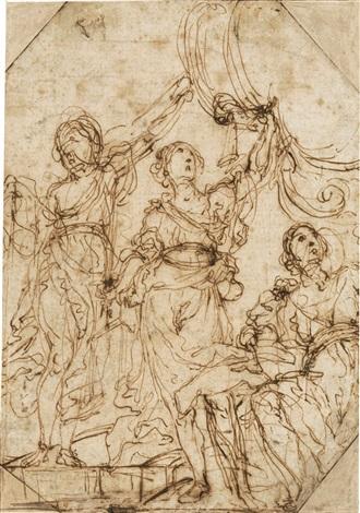 die figur der gerechtigkeit mit erhobener linker hand von zwei figuren flankiert by astolfo petrazzi