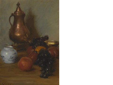 still life with fruit copper pot by william merritt chase