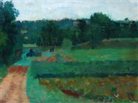 landscape at baylham by claude rogers