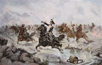 french dragoons advancing to battle by henri mornard