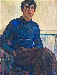 portrait of karl edvard holmström (ilja) by gösta (gan) adrian-nilsson