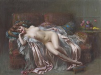 nu allongé à la rose by delphin enjolras