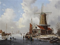 a winter landscape by a. de groote