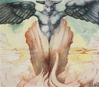 green figure with wings by ithell colquhoun