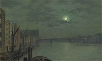 view from blackfriars bridge by moonlight by john atkinson grimshaw