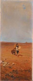 paesaggio con beduini by alfredo vaccari