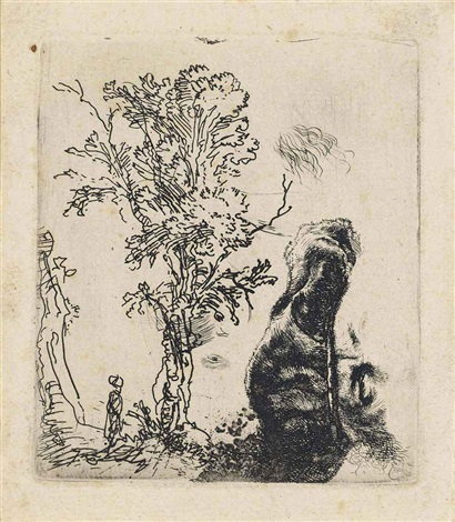 sheet with two studies: a tree, and the upper part of the head of the artist wearing a velvet cap by rembrandt van rijn