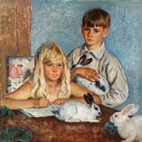 two children with rabbits by august torsleff